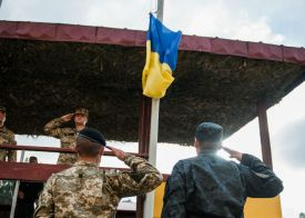 Ukraine Flag and Soldiers